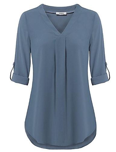 billige Skjorter til damer-V-hals Skjorte Dame - Ensfarget Grønn