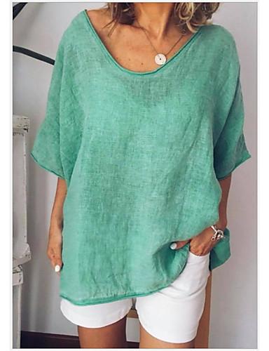 billige T-skjorter til damer-Store størrelser T-skjorte Dame - Ensfarget Lysegrønn