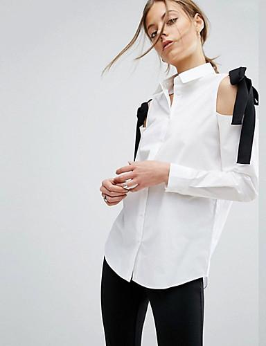 billige Bluser-Skjortekrage Bluse Dame - Ensfarget Svart