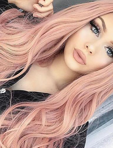 preiswerte Lolita Perücken-Synthetische Perücken Locken Große Wellen Bob Bubikopf Asymmetrischer Haarschnitt Mittelteil Perücke Rosa Lang Rosa Lila Synthetische Haare 24 Zoll Damen Synthetik Natürlicher Haaransatz