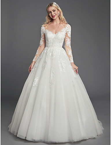cheap Wedding Dresses-Ball Gown V Neck Court Train Lace / Tulle Long Sleeve Romantic See-Through / Backless / Illusion Sleeve Wedding Dresses with Lace / Appliques 2020