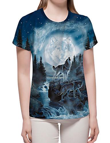 billige Dametopper-T-skjorte Dame - Fargeblokk / 3D / Dyr, Trykt mønster Grunnleggende / overdrevet Blå