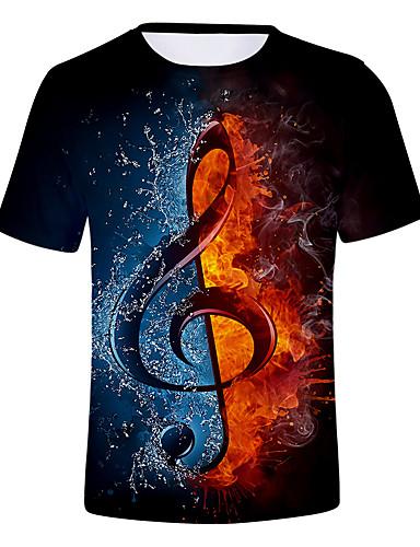 billige Dametopper-Store størrelser T-skjorte Dame - Fargeblokk / 3D / Grafisk, Trykt mønster Gatemote / overdrevet Blå
