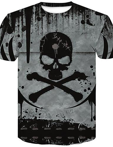 voordelige Heren T-shirts & tanktops-Heren Grote maten - T-shirt Katoen 3D / Doodskoppen Ronde hals Slank Grijs