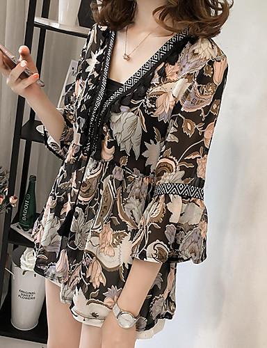billige Dametopper-V-hals Store størrelser Bluse Dame - Geometrisk, Blonde / Blomster / Trykt mønster Grunnleggende Grønn / Vår / Sommer / Høst