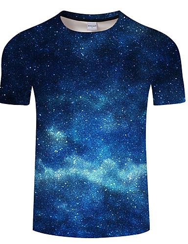 levne Pánské topy-Pánské - Galaxie / 3D Tričko, Tisk Vodní modrá
