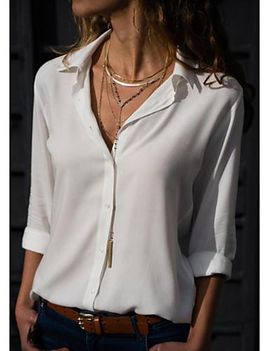 billige Dametopper-Skjortekrage Skjorte Dame - Ensfarget Navyblå