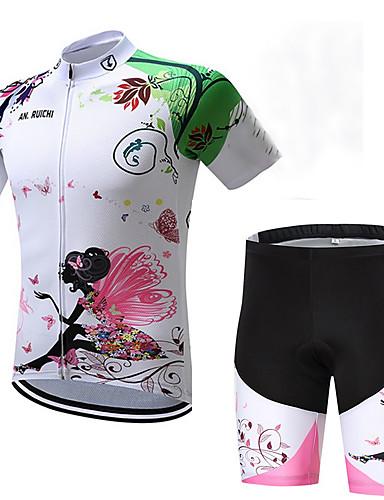 povoljno Biciklizam-Dječaci Djevojčice Kratkih rukava Biciklistička majica s kratkim hlačama - Dječji Crno bijela  / Cvjetni / Botanički Bicikl Sportska odijela Prozračnost Ovlaživanje Quick dry Sportski Likra Cvjetni