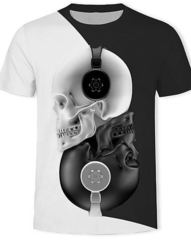 voordelige Herenbovenkleding-Heren Print T-shirt 3D / Cartoon / Doodskoppen Wit