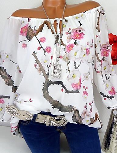 billige T-skjorter til damer-V-hals T-skjorte Dame - Blomstret / 3D, Blondér / Lapper / Trykt mønster Hvit