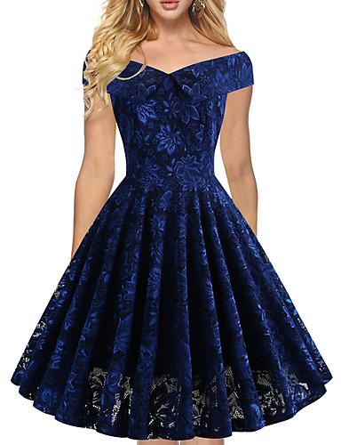 cheap ★Single'sDaySale★ Women's Clothing Bestseller-Women's Elegant A Line Dress - Solid Colored Lace Off Shoulder Lace Black Blue S M L XL