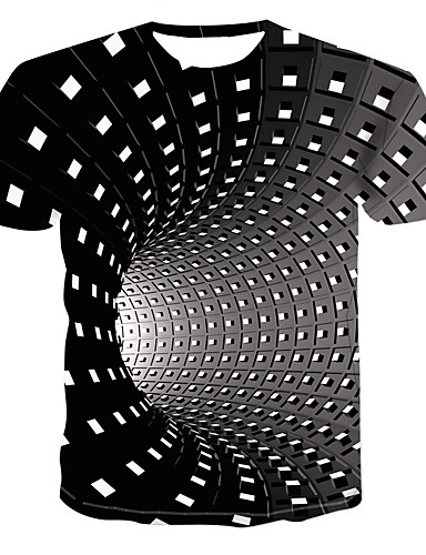 cheap Christmas Deals-Men's Daily Street chic / Punk & Gothic Plus Size T-shirt - Geometric / 3D Print Round Neck Black / Short Sleeve