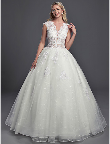 cheap Wedding Dresses-Ball Gown V Neck Chapel Train Lace / Organza / Tulle Sleeveless Glamorous See-Through / Backless Wedding Dresses with Buttons / Sequin 2020