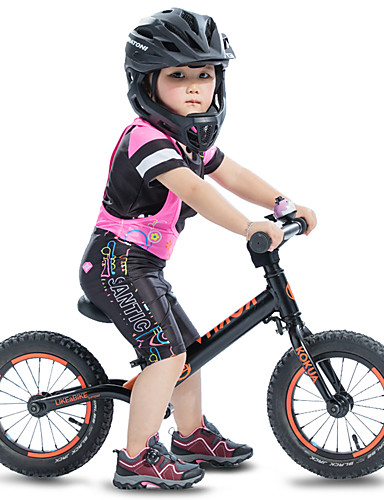 cheap Cycling-SANTIC Girls' Short Sleeve Cycling Jersey with Bib Shorts - Kid's Summer Silicone Mesh Spandex Black Cartoon Bike Padded Shorts / Chamois Clothing Suit UV Resistant Quick Dry Lightweight Breathable