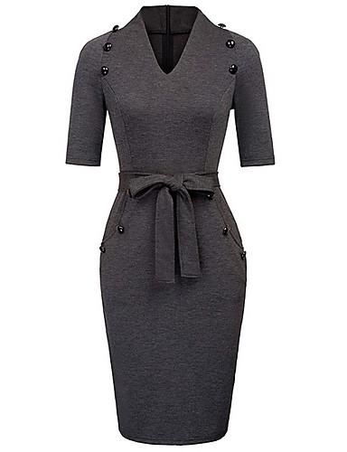 levne Pracovní šaty-Dámské Bodycon Šaty Délka ke kolenům Do V