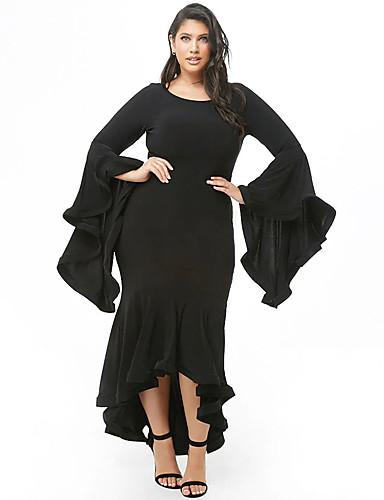 levne Šaty velkých velikostí-Dámské Sofistikované Elegantní Mořská panna Šaty - Jednobarevné, Volány Asymetrické