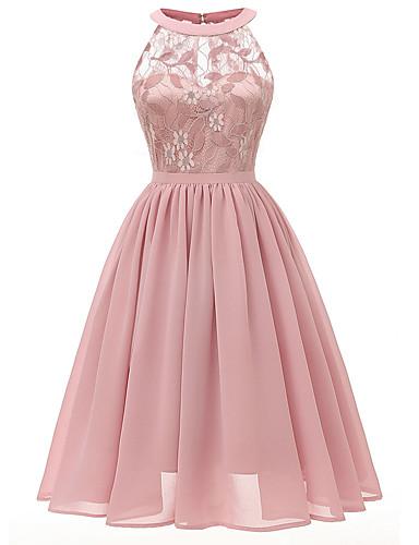 povoljno Vintage kraljica-Žene Haljina A-kroja Midi haljina - Bez rukávů Dusty Rose Slim Blushing Pink Lila-roza Svijetlo plava Navy Plava Sive boje S M L XL XXL