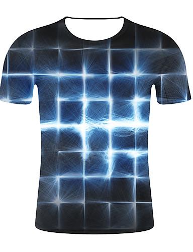 levne Pánská tílka-Pánské - 3D / Pléd Větší velikosti Tričko, Tisk Kulatý Štíhlý Černá