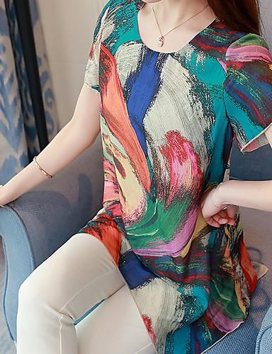 billige Dametopper-Tynn Store størrelser Skjorte Dame - Blomstret Fuksia