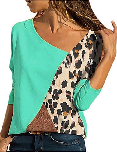 billige Dametopper-Store størrelser T-skjorte Dame - Fargeblokk, Lapper Blå