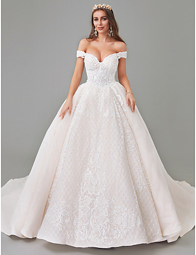 cheap Wedding Dresses-A-Line Off Shoulder Court Train Lace / Tulle Strapless See-Through Wedding Dresses with Pattern / Print / Appliques 2020