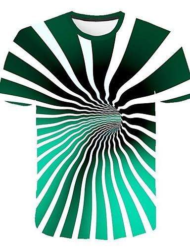 preiswerte Herren T-Shirts mit 3D-Druck-Herrn 3D EU- / US-Größe T-shirt, Rundhalsausschnitt Schlank Regenbogen