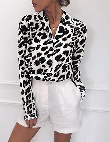 billige Dametopper-Bomull Skjortekrage Bluse Dame - Leopard, Lapper Gatemote Svart og hvit / Svart og Grå Lysebrun