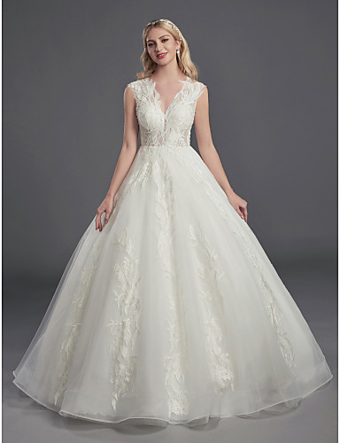 cheap Wedding Dresses-Ball Gown V Neck Court Train Lace / Organza Sleeveless Sexy See-Through / Backless Wedding Dresses with Lace / Beading 2020