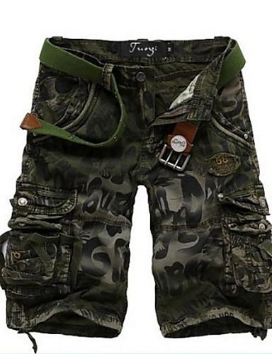 billige Shorts-Herre Grunnleggende Shorts Bukser - Trykt mønster / Kamuflasje Blå Mørkegrå Militærgrønn 34 36 38