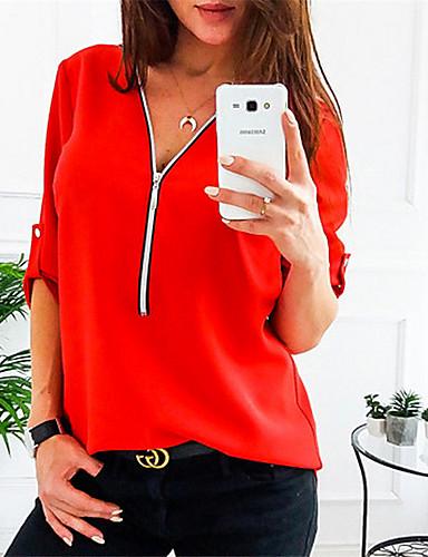billige Bluser-V-hals Skjorte Dame - Ensfarget, Lapper Grunnleggende Rød