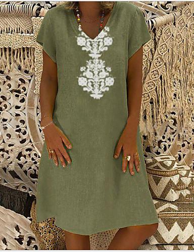 billige Skjorter til damer-Løstsittende V-hals Skjorte Dame - Geometrisk Lysegrønn