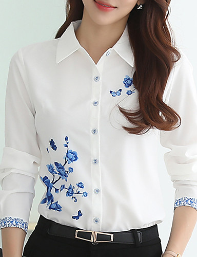 billige Dametopper-Skjortekrage Store størrelser Bluse Dame - Blomstret, Trykt mønster Hvit