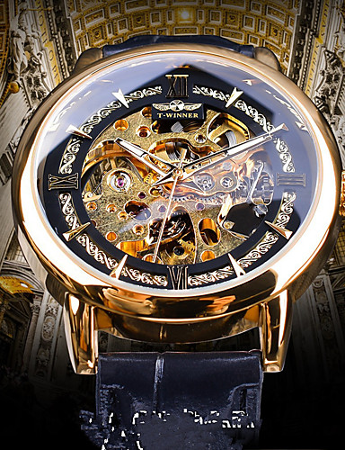 cheap Leather band Watches-Men's Mechanical Watch Automatic self-winding Genuine Leather Black Hollow Engraving Noctilucent Casual Watch Analog Casual Vintage - Gold Blue