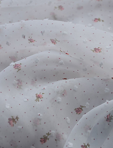 cheap Wedding Dress Fabric-Chiffon Florals Stretch 150 cm width fabric for Special occasions sold by the Meter