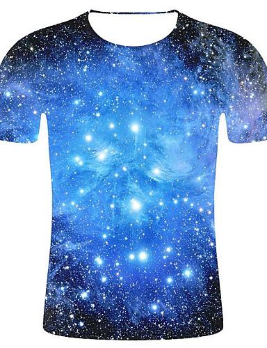 voordelige Heren T-shirts & tanktops-Heren 3D-print / Heelal Print Grote maten - T-shirt Katoen Heelal Ronde hals blauw