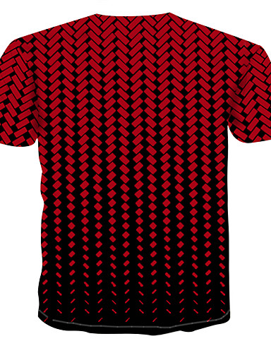 voordelige Heren T-shirts & tanktops-Heren Print T-shirt 3D Ronde hals Rood / Korte mouw