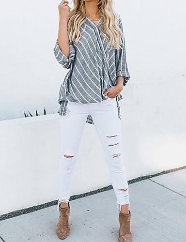 billige Dametopper-V-hals Skjorte Dame - Stripet Svart