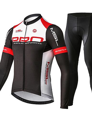 povoljno Odjeća za vožnju biciklom-Mysenlan Muškarci Dugih rukava Biciklistička majica s tajicama Crveno / crno Bicikl Sportska odijela Prozračnost Pad 3D Quick dry Sportski Poliester Spandex Honeycomb Brdski biciklizam biciklom na