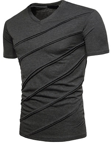cheap 2020 Trends-Men's Graphic Solid Colored T-shirt V Neck White / Black / Light gray / Dark Gray