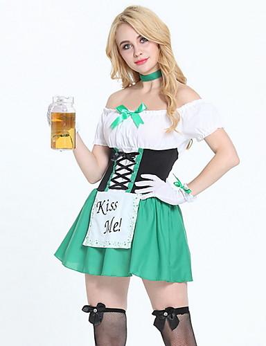 preiswerte Neon-Oktoberfest Dirndl Trachtenkleider Damen Kleid Bayerisch Kostüm Hellgrün
