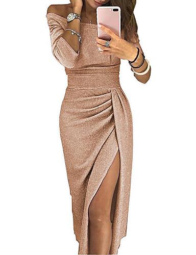 billige Trendy kjoler-Dame Sofistikert Skjede Kjole - Ensfarget Blomstret, Lapper Løse skuldre Ovenfor knéet