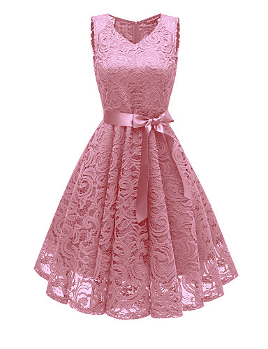 cheap Special Occasion Dresses-A-Line Elegant Minimalist Party Wear Cocktail Party Dress V Neck Sleeveless Short / Mini Lace with Bow(s) Pleats 2020