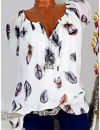billige T-skjorter til damer-V-hals T-skjorte Dame - Grafisk, Blomster Svart / Vår / Sommer / Høst / Vinter