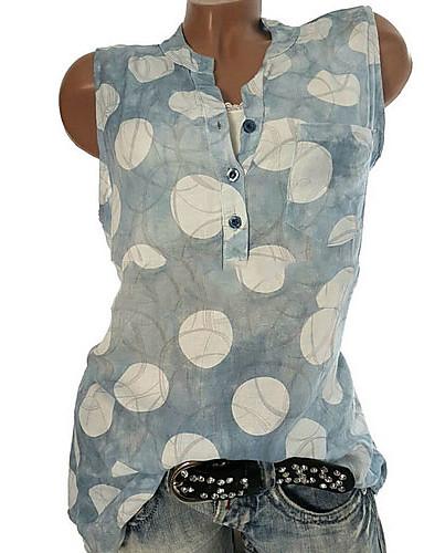 billige T-skjorter til damer-Tynn Skjortekrage Store størrelser T-skjorte Dame - Geometrisk, Polka Prikker Grå / Vår / Sommer / Høst
