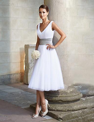 preiswerte Weiße Partykleider-A-Linie V-Ausschnitt Tee-Länge Chiffon Cocktailparty Kleid mit Schärpe / Band durch LAN TING Express