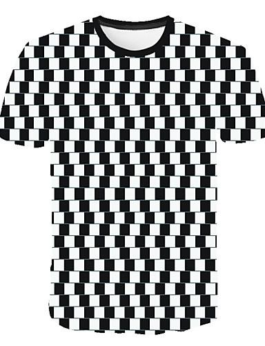 levne Pánská tílka-Pánské - Geometrický / 3D / Kostičky Větší velikosti Tričko, Tisk Kulatý Bílá XXXXL