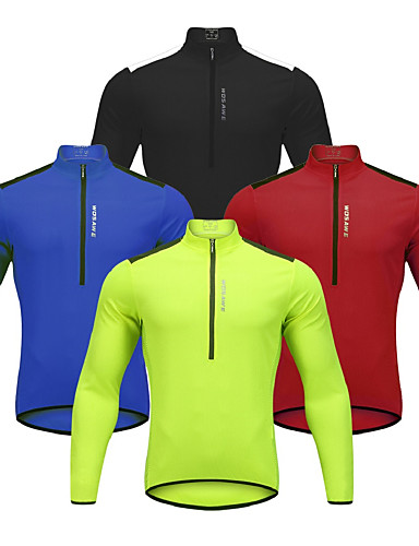 cheap Massive Clearance Sale-WOSAWE Men's Long Sleeve Cycling Jersey Winter Black Red Blue Bike Jersey Mountain Bike MTB Road Bike Cycling Reflective Strips Back Pocket Sports Clothing Apparel / Stretchy / Advanced / Advanced