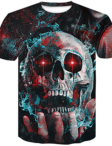 preiswerte Herren T-Shirts mit 3D-Druck-Herrn 3D / Totenkopf Motiv Übergrössen Baumwolle T-shirt, Rundhalsausschnitt Schlank Schwarz
