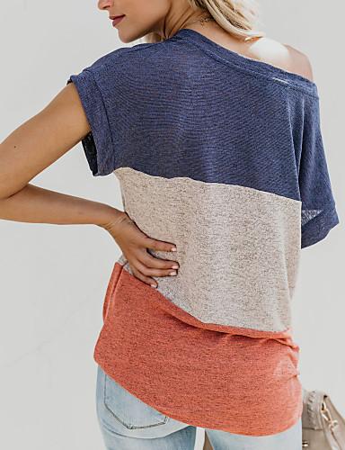billige Dametopper-Bomull Løse skuldre T-skjorte Dame - Fargeblokk, Lapper Svart