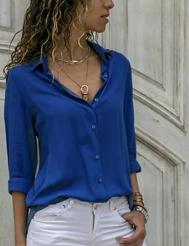 billige Skjorter til damer-Skjortekrage Skjorte Dame - Ensfarget Navyblå